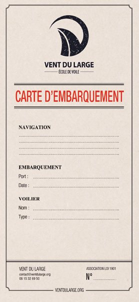 Carte d'embarquement - Vent du Large