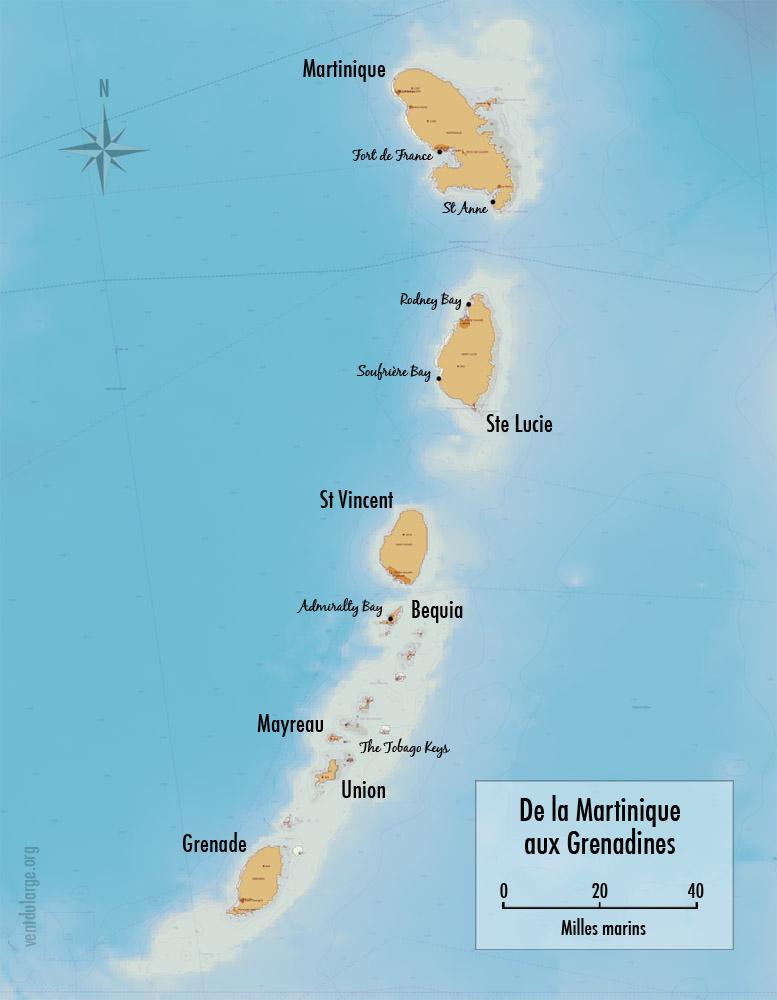 Carte stage voile navigation aux Antilles, destination Grenadines depuis la Martinique