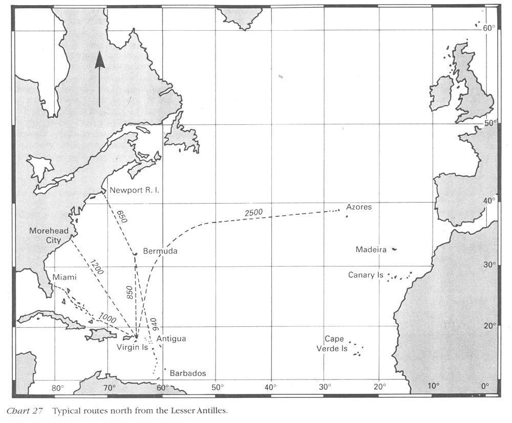 Routes et distances / Stage voile transat retour  Pogo (Pogo 12.50 & Pogo 36)